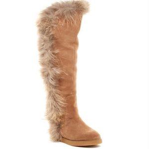 Koolaburra Sasha II Tall Suede Fox Hair Boots